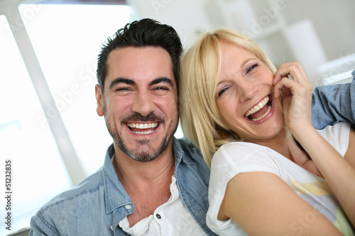Cheerful couple having fun