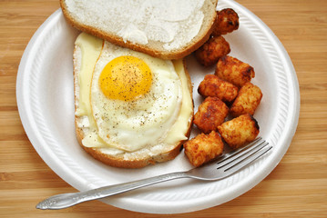 Fried Egg Sandwich with Tator Tots
