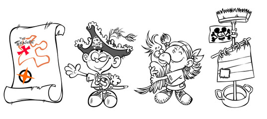 Two cartoon kids in pirate Costumes and accessories.