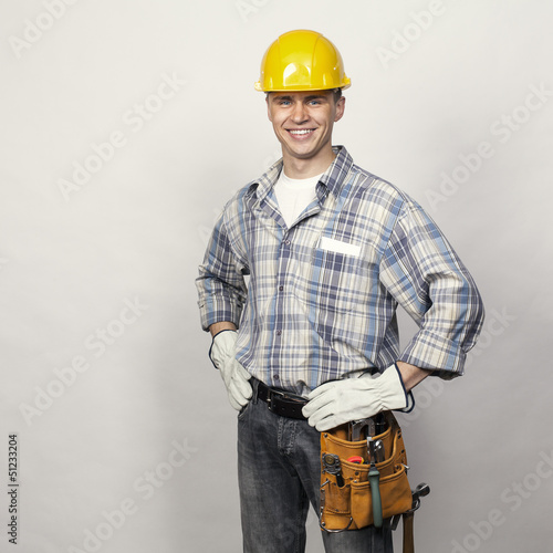 smiling young builder