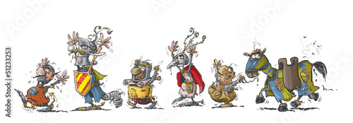 Funny row of cartoon Knights with raised hands up.