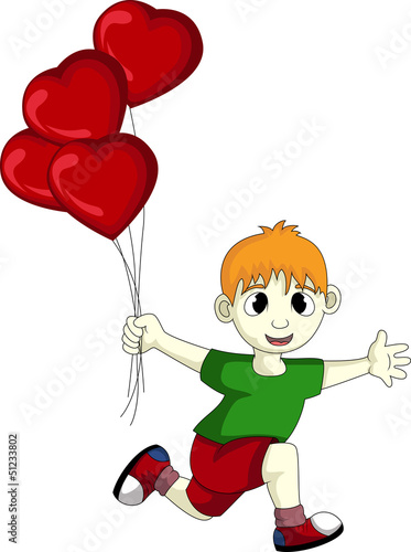 little boy with love heart balloons