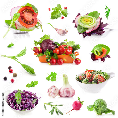 Collection of Fresh vegetables isolated on white background