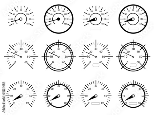 Set of speedometers illustrated on white background