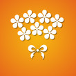 paper bouquet of flowers on the orange background