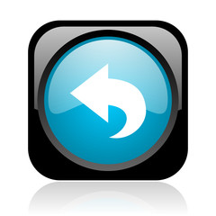 back black and blue square web glossy icon