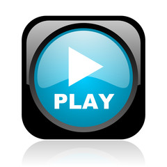 play black and blue square web glossy icon