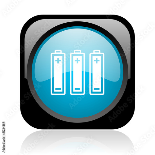batteries black and blue square web glossy icon