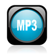 mp3 black and blue square web glossy icon