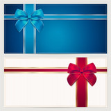 Gift Voucher (coupon or invitation) template with bow (ribbons)