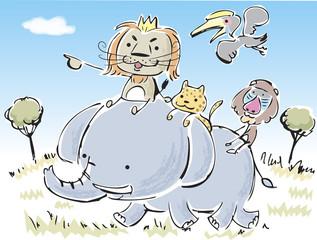 ライオン王と動物達