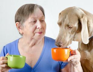 Senior woman with dog drinking tea