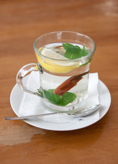 mint tea with lemon and cinnamon