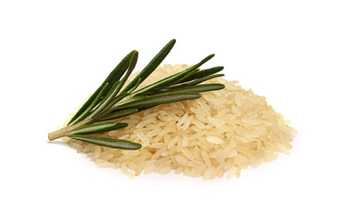 White rice with a sprig of rosemary