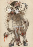 Greek myths and legends (Full sized hand drawing) - Minotaur