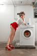 sexy housewife have a dream in the laundry