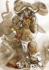 Illustration in ancient Greek myths: MINOTAUR and THESEUS
