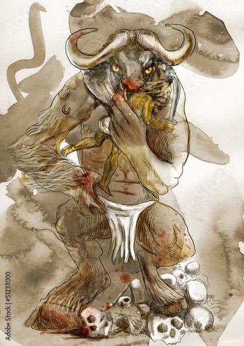 canvas print picture Illustration in ancient Greek myths: MINOTAUR and THESEUS