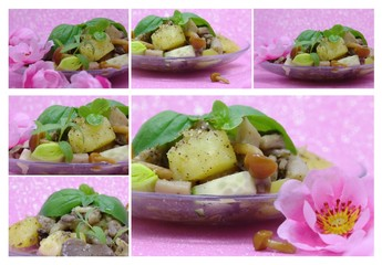 collage with cooked potato, basil and flower