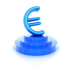 Euro sign on podium. 3D icon on white