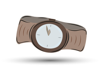 watch with brown leather strap