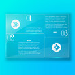 Blue abstract template with glass panel