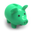 Green piggy bank runs towards you