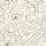 Fototapety Seamless floral pattern with Peony.