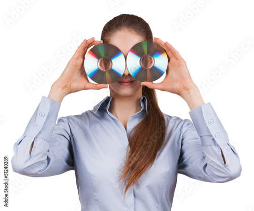 Woman holds two CDs in front of his face