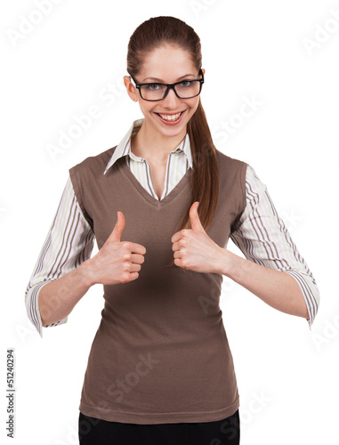 Woman with glasses shows that all is well