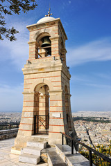 Belfry of the St. George church on Lycabettus hill in Athens