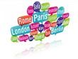 nuage de mots bulles 3D : capitales d'europe