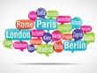 nuage de mots bulles : capitales d'europe