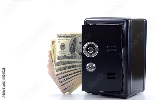 Steel safe with money , money saving concept