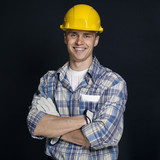 portrait of a young builder