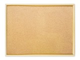 Blank cork pin board on white background