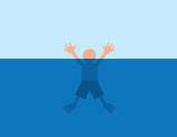 Person helplessly drowning in water poster