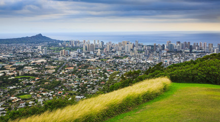View of Diamond Head and the City of Honolulu, Hawaii