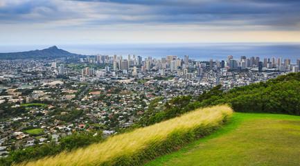 View of Diamond Head and the City of Honolulu, Hawaii