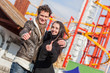 Happy Young Couple at Amusement Park in Wien