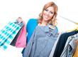 Cheerful smile girl choosing clothing