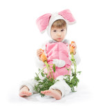 Child in bunny hare costume holding carrots. White background