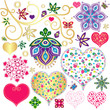 Set colorful design elements with hearts
