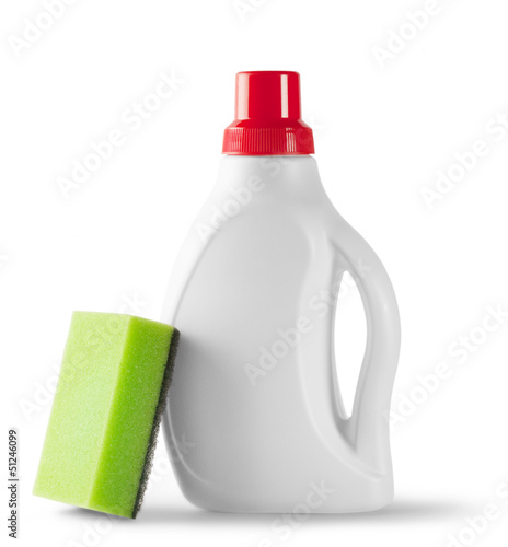 Bottle with detergent and sponge