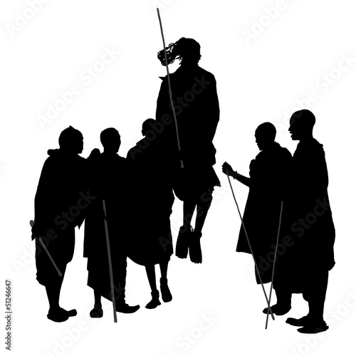 African Dancing People Silhouette