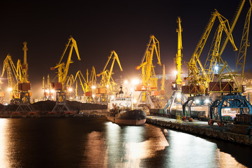 Port and ship at night