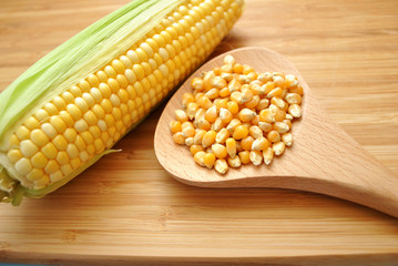 Golden Corn Kernels with a Whole Ear of Corn