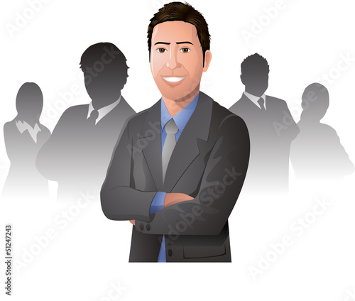 Young happy businessman illustration in front of his team eps 10