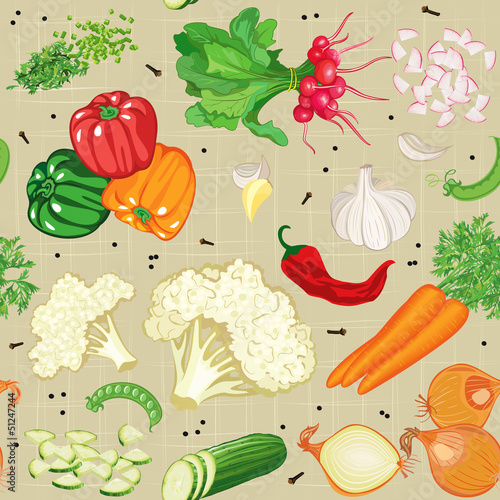 Seamless pattern with various vegetables