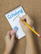 Schulung, Hände, Notizbuch, Bleistift